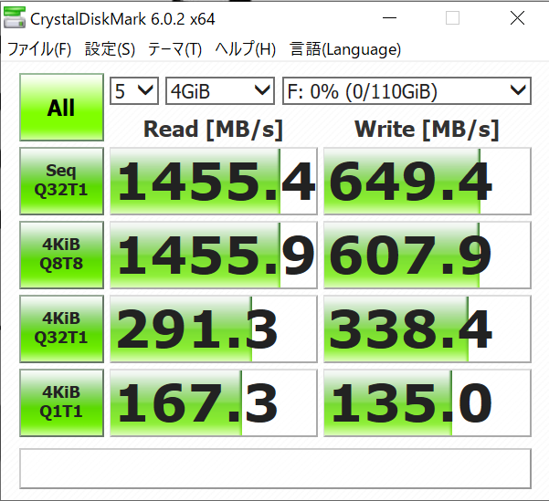 intel Optane 800pのCrystalDiskMark6の結果(4GiB)