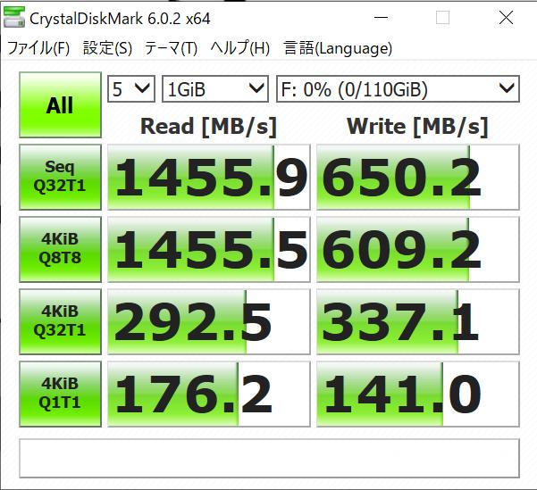 intel Optane 800pのCrystalDiskMark6の結果(1GiB)