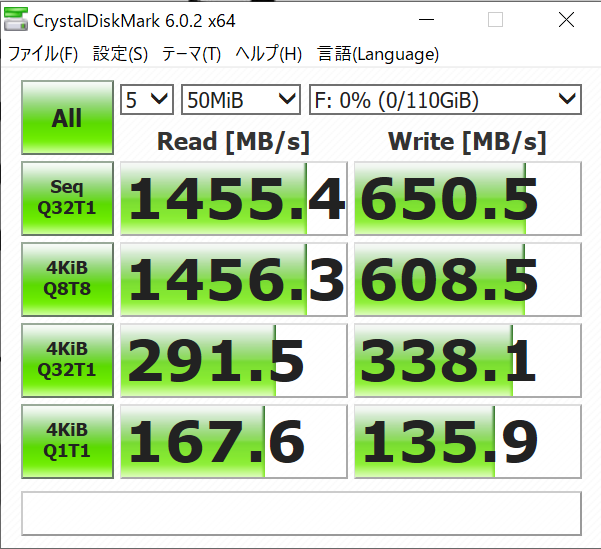 intel Optane 800pのCrystalDiskMark6の結果(50MiB)